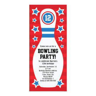 Bowlings-Button-Geburtstags-Party Einladung mit 10,2 X 23,5 Cm Einladungskarte