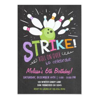 Bowlings-Geburtstags-Einladungs-Rosa-lila Mädchen 12,7 X 17,8 Cm Einladungskarte