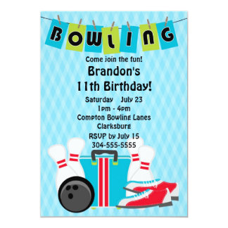 Bowlings-Geburtstags-Party 12,7 X 17,8 Cm Einladungskarte