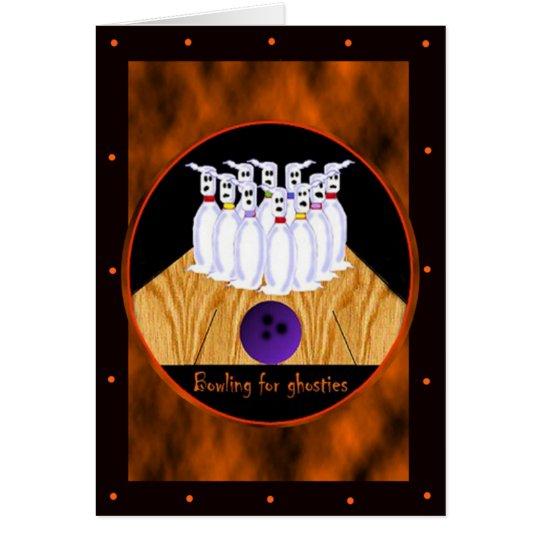 Bowlings-Halloween-Schablonen-Karten Grußkarte