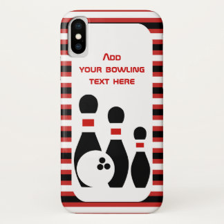 Bowlingsball und rote schwarze Streifen der iPhone X Hülle
