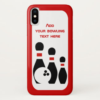 Bowlingsball und rotes Schwarzes des Buttonsports iPhone X Hülle