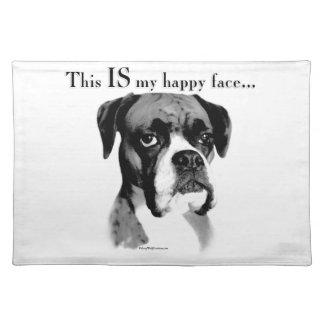 Boxer-glückliches Gesicht Stofftischset