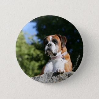 Boxer-Hund, der auf einen Felsen legt Runder Button 5,7 Cm