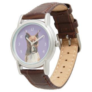 Boxer-HundeAquarell-Malerei Armbanduhr