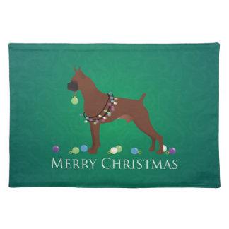 Boxer-Hundefrohe Weihnacht-Entwurf Tischset