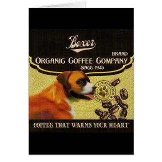 Boxer-Hundekunst-Plakat - Bio Kaffee-Firma Grußkarte