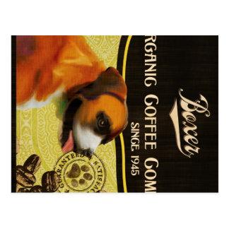Boxer-Hundekunst-Plakat - Bio Kaffee-Firma Postkarte