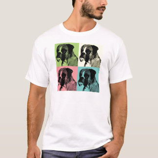 Boxer-Hundestampfer-Pop-Kunst T-Shirt