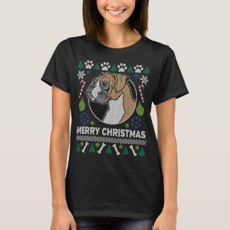 Boxer-Hundezucht-hässliche Weihnachtsstrickjacke T-Shirt