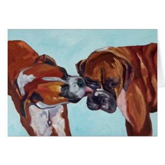 Boxer küssend, verfolgt Kunst-Gruß-Karte Karte
