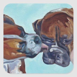 Boxer küssend, verfolgt Kunst-Porträt Quadratischer Aufkleber