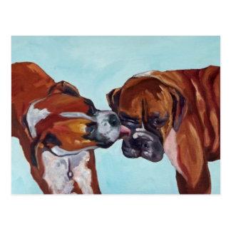 Boxer küssend, verfolgt Postkarte