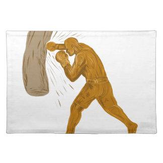 Boxer-lochende Taschen-Zeichnen Tischset