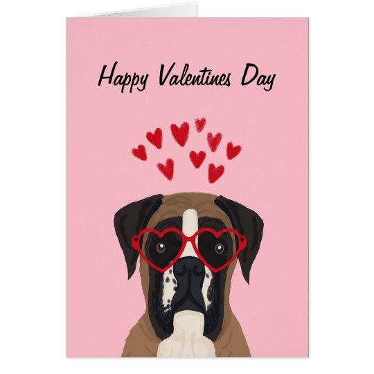 Boxervalentines-Liebe-Hundekarte - verfolgen Sie Karte