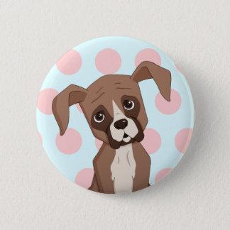 Boxerwelpe auf rosa Tupfen Runder Button 5,7 Cm