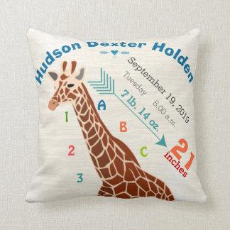 Boy Nursery Baby Birth Stats Giraffe Arrow Pattern Kissen