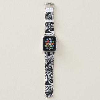Bracelet Apple Watch Art numérique liquide noir et blanc frais