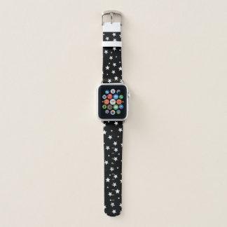 Bracelet Apple Watch Étoiles de blanc sur le noir