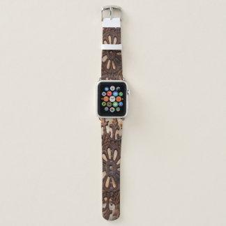 Bracelet Apple Watch L'art en acier Apple observent la bande en cuir
