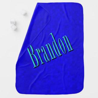 Brandon, Namenslogo auf blauem Mosaik, Kinderwagendecke
