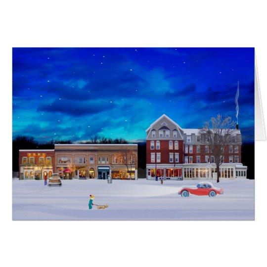 Brandon Vermont auf einer Winternacht Grußkarte