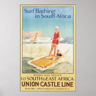 Brandung, die in Südafrika, Vintag badet Poster