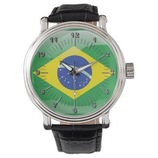 Brasilianische glatte Flagge Uhr