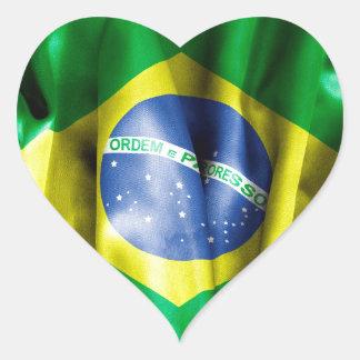 Brasilien-Flagge Herz-Aufkleber