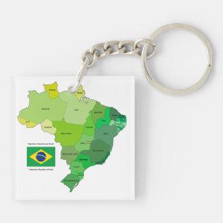 Brasilien-Flagge und politische Karte Beidseitiger Quadratischer Acryl Schlüsselanhänger