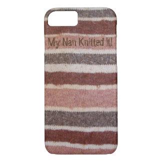 brauner und beige stripy gestrickter Retro Entwurf iPhone 8/7 Hülle