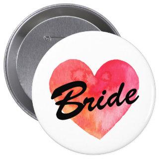 Braut-Abzeichen | Watercolor-Herz Runder Button 10,2 Cm