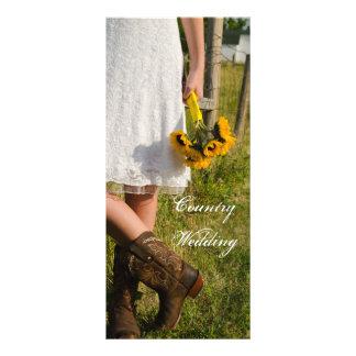 Braut, Cowboystiefel und Sonnenblumen, die Werbekarte