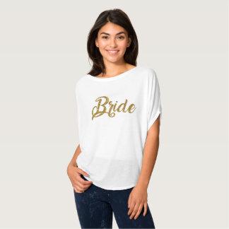 Braut-GoldGlitter Flowy Spitze T-Shirt