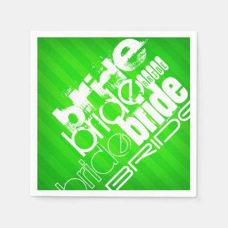 Braut; Grüne Neonstreifen Papierservietten