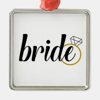 Braut mit Ring Quadratisches Silberfarbenes Ornament