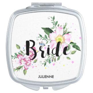 Braut-Rosa erröten BlumenAquarell-Hochzeit Schminkspiegel