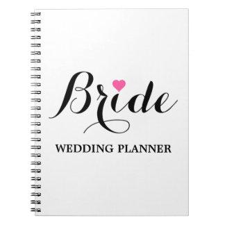 Braut-rosa Herz-Hochzeits-Planer-Notizbuch weiß Notiz Buch