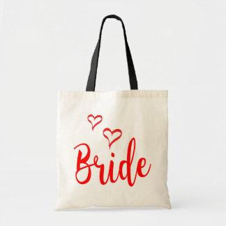 Braut-rote Liebe-Herzen, die Typografie Wedding Tragetasche