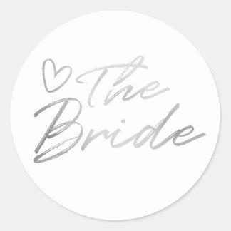 Braut - silberner Imitatfolienaufkleber Runder Aufkleber