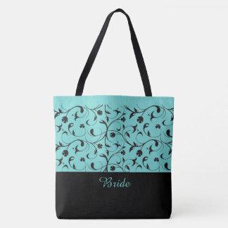 Braut-Taschen-Taschen-Aqua u. schwarze Rollen Tasche