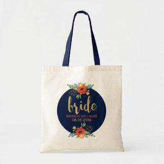 Braut-Typografie u. Blumenstrauß Tragetasche