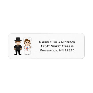 Braut u. Bräutigam - Adressen-Etiketten Rücksende Aufkleber