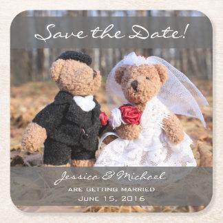 Braut-und Bräutigam-Bären Save the Date Rechteckiger Pappuntersetzer