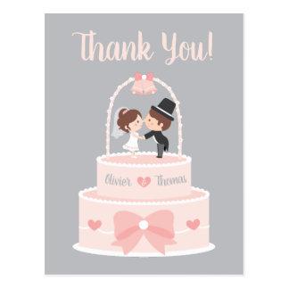 Braut-und Bräutigam-Deckel-Hochzeit danken Ihnen Postkarte