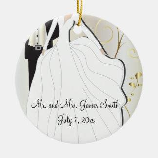 Braut-und Bräutigam-Hochzeits-Andenken Keramik Ornament