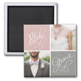 Braut-und Bräutigam-Hochzeits-Foto-Collagen-Magnet Quadratischer Magnet