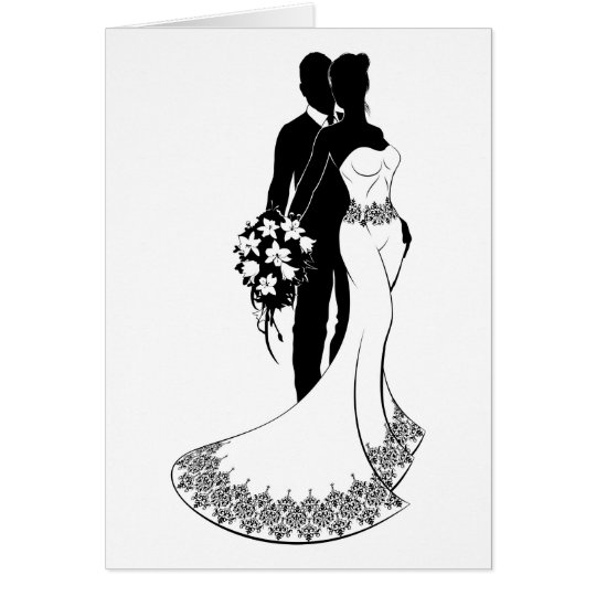 Braut-und Bräutigam-Hochzeits-Silhouette Grußkarte