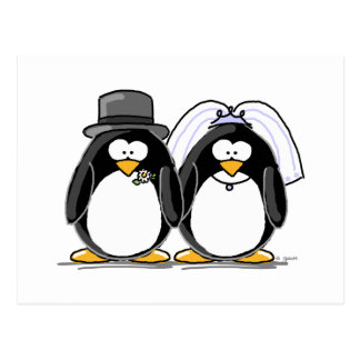 Braut-und Bräutigam-Pinguine Postkarten
