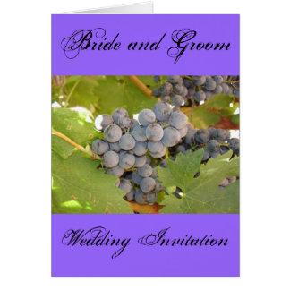 Braut und Bräutigam, Wedding Einladung, Wein-Thema Karte